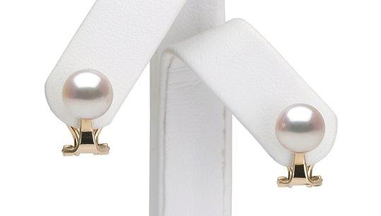 Boucles d'oreilles à clips en Or 14k avec perles d'eau douce blanches Doucehadama