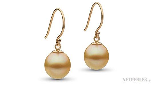 Boucles d'oreilles de perles d'Australie dorées en forme goutte