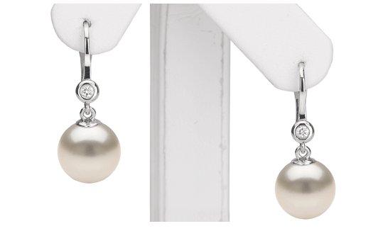 Dormeuses or et diamants, perles de culture d'Australie