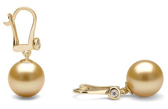 Dormeuses or et diamants avec perles de culture d'Australie dorées