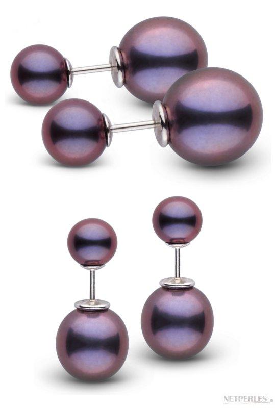 Boucles d'oreilles Recto Verso de perles de culture d'eau douce noires ronde et ovale