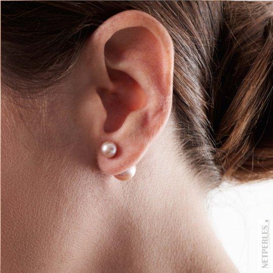 Boucles d'oreilles Recto Verso de perles de culture d'eau douce roses ronde et ovale