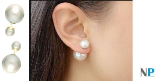 Boucles d'oreilles Recto Verso de perles de culture d'eau douce rondes