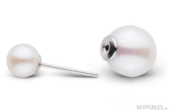 Boucles d'oreilles système Recto Verso de perles de culture d'eau douce rondes