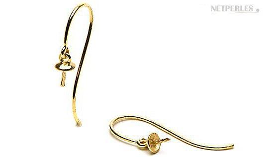 Monture en or pour boucles d'oreilles de perles