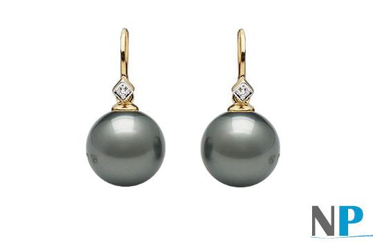 boucles d'oreilles en or jaune 14k avec diamants et perles de Tahiti