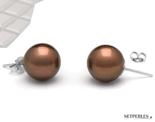 Paire de boucles d'oreilles perles de culture de tahiti teinte chocolat sur Or jaune ou gris
