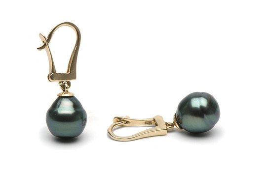 Bouckes d'oreilles de perles baroques de Tahiti sur dormeuses