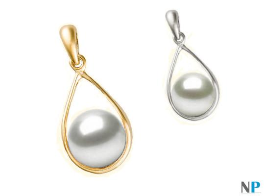 Pendentif Boucle en Or Jaune et Or Gris 18k  avec perles d'eau douce blanche