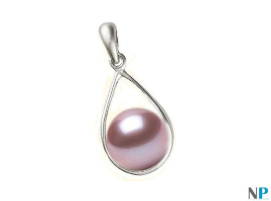 Pendentif Boucle en Or Gris  18k  avec perles d'eau douce lavande