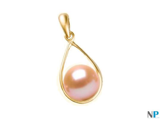 Pendentif Boucle en Or Jaune 18k  avec perles d'eau douce rose pêche