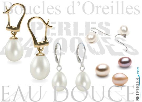 Boucles d'Oreilles de Perles d'Eau Douce Baroques