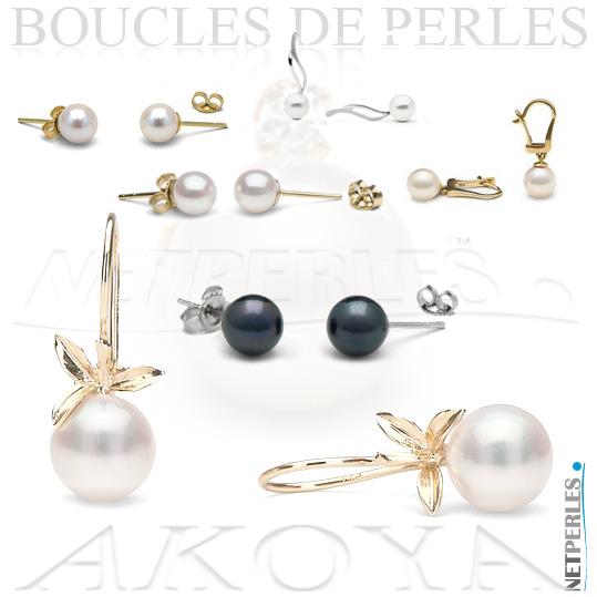 Boucles d'oreilles - boucles de perles - boucles de perles du japon - boucles vraies perles - perles blanches - perles et or