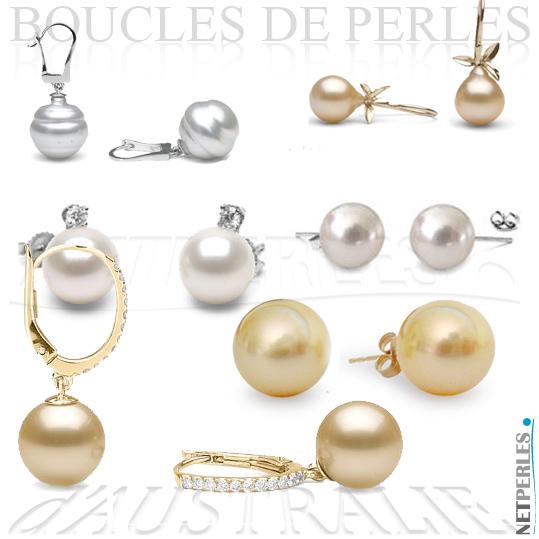 Boucles d'oreilles de perles d'australie - perles dorées - perles blanches argentées - perles des mers du sud