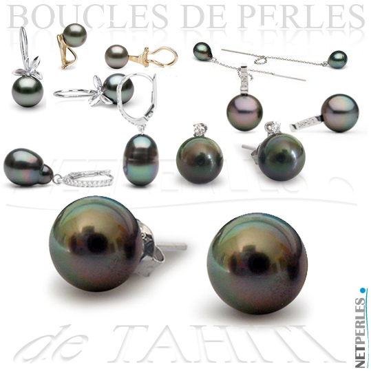 Boucles d'Oreilles de Perles de Tahiti - boucles perles noires - boucles perles de tahiti - perles de tahiti pas chers