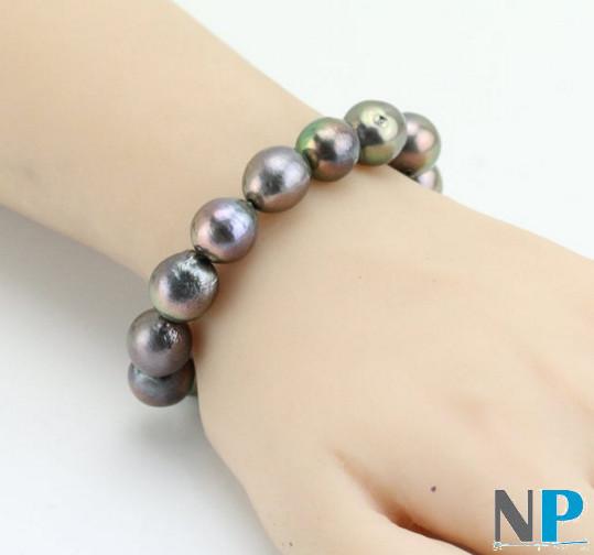 Bracelet de perles de culture d'Eau Douce Kasumi noires