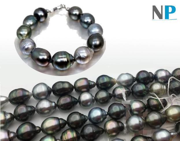 Bracelet de perles noires de tahiti, forme baroques gouttes
