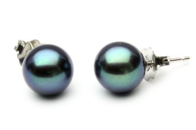 Boucles<br /> d&#039;oreilles perles d&#039;eau douce noires