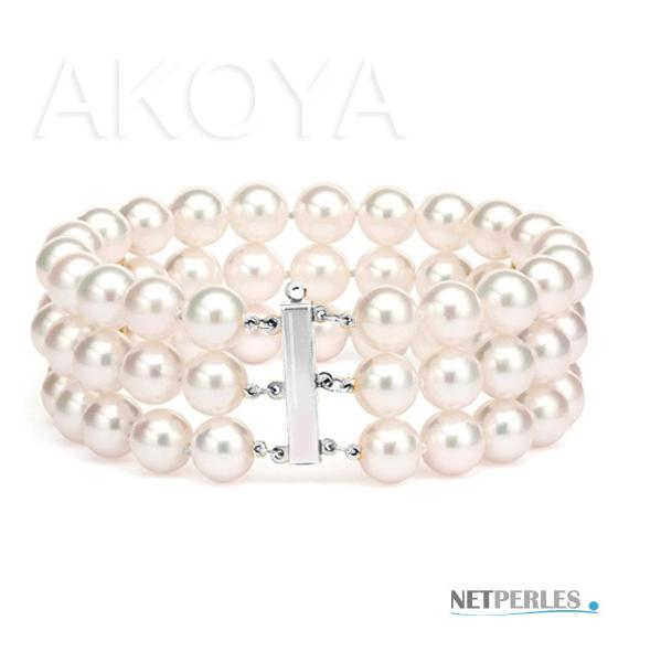 Bracelet de perles de culture trois rangs sur Or gris