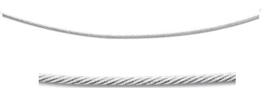 Cable en argent 1.4 mm, longueur 42 cm, 5 grammes
