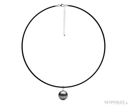 Pendentif / Collier en caoutchouc avec bélière Mignon en Argent 925 , perle de culture de Tahiti