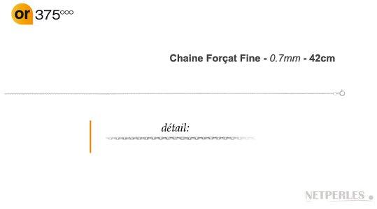 Chaine fine maille forçat Or gris 9k pour pendentif