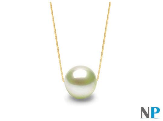 Catenina oro giallo 14k di 40 cm con perla d'acqua dolce 7-8 mm AAA bianca