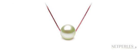 Collier sur chaine maille força plaqué or rose et perle d'eau douce Blanche DOUCEHADAMA
