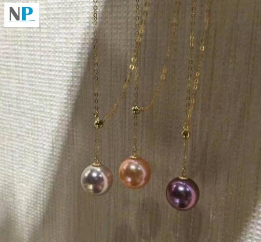 Collier Lariat Or 18k Perle Edison trois couleurs de perles