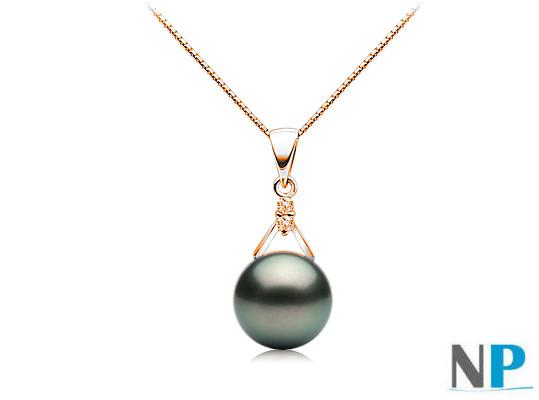 Pendente in oro 18k e diamanti con perla di Tahiti