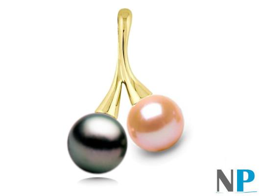 Pendentif en Or Jaune 18 carats avec une perle de Tahiti AAA et une perle d'eau douce Pêche  DOUCEHADAMA