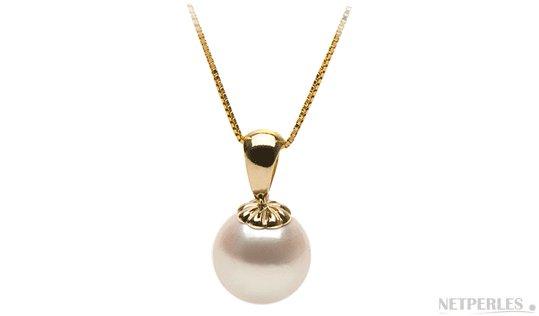 Pendentif Classique en or jaune 14 carats et perle de culture d'Akoya