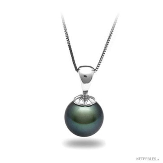 Pendentif perle de culture de Tahiti qualité AAA montee avec beliere et chaine en or gris