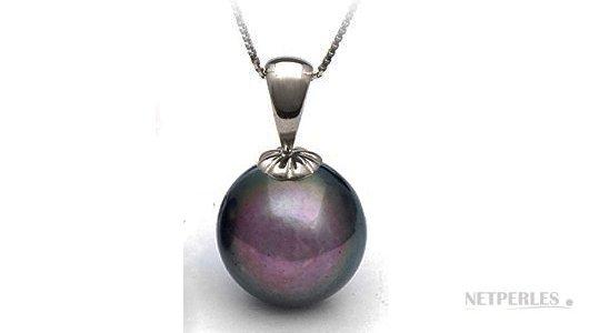 pendentif classique avec perle eau douce noire