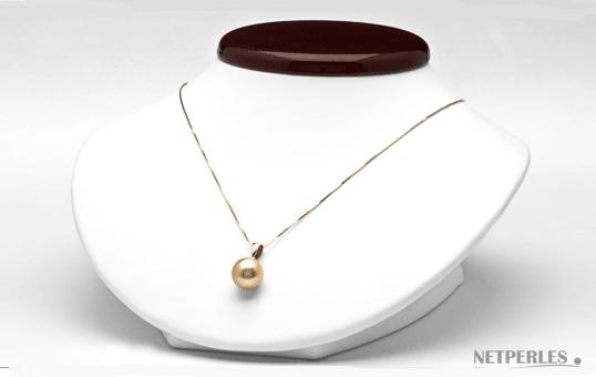 Pendentif de perle de culture d'australie doree