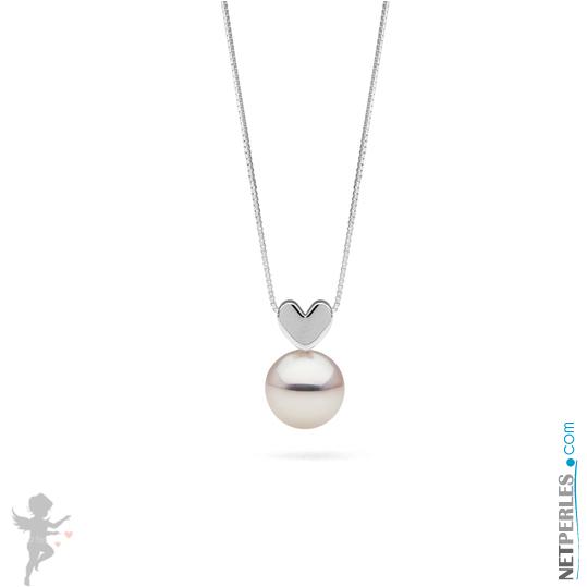 Pendentif coeur en or gris 14 carats avec perle blanche d'eau douce qualité AAA