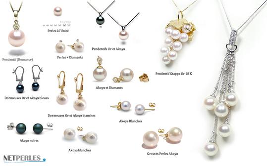 large collection de bijoux de perles akoya, perles du japon, authentique perles des huitres perlieres
