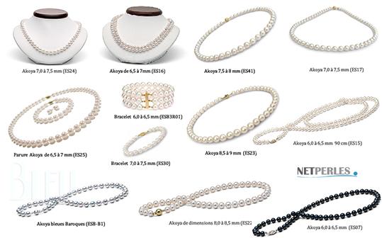 Collection de bijoux de perles akoya, colliers de perles et parures de perles, authentiques perles akoya, perles de culture