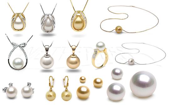 Gioielli di perle coltivate in Australia e Filippine con il mollusco Pinctada Maxima