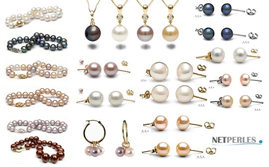 Collection de bijoux elabores avec perles d'eau douce - nombreux bijoux, large collection