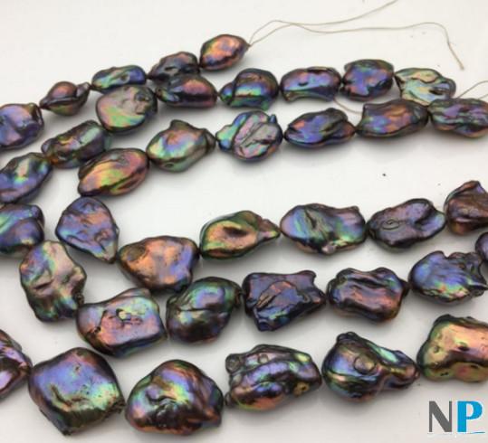 Rangs de perles soufflées violine, vert amande, dorées, dimensions extraordinaires!