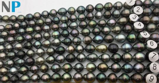 Collier  N°8 , 43 cm perles de Tahiti Baroques cerclées forme goutte
