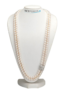 Long collier de perles d'eau douce, exemple de collier de perles personnalise
