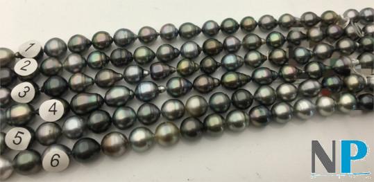 Collier  N°4 , 43 cm perles de Tahiti Baroques cerclées forme goutte