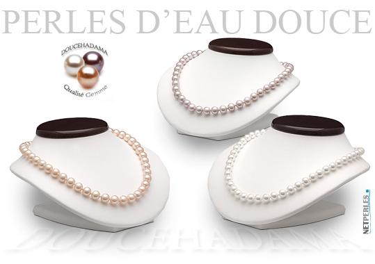 Collier d'eau douce très haut de gamme - colliers DOUCEHADAMA - perles blanches, perles lavandes, perles peches
