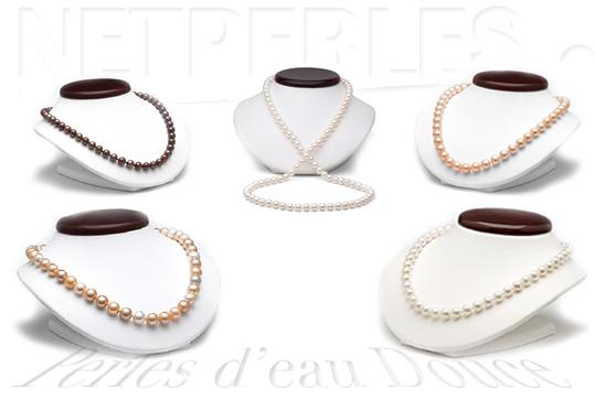 Colliers de perles de culture d'eau douce, perles de rivières, perles des lacs