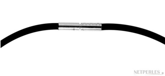 cordon de caoutchouc noir avec fermoir en argent 925 pour pendentif