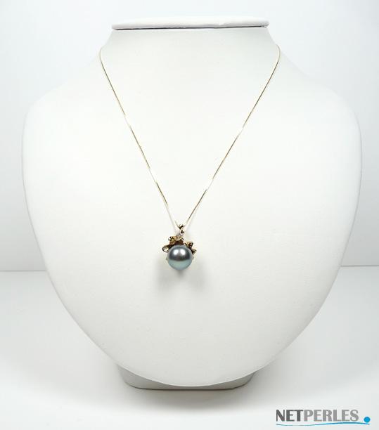 Pendentif or gris ou jaune 18 carats avec diamant et perle de culture de tahiti à partir de 8 mm à 13 mm