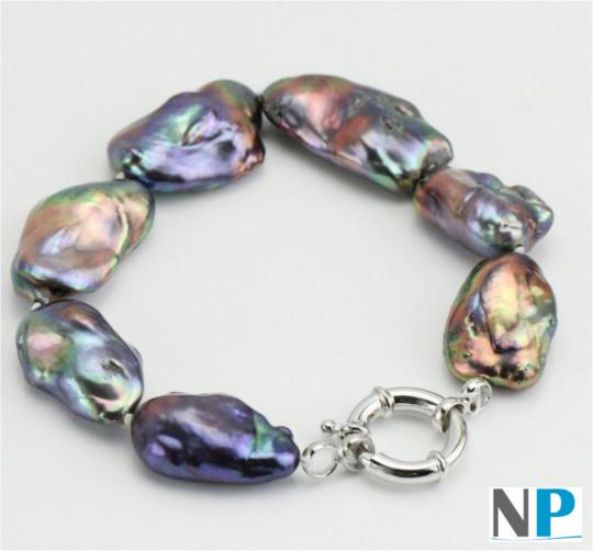 Bracelet de perles soufflées violine, vert amande, dorées, dimensions extraordinaires!