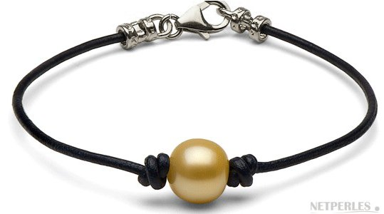Bracelet en cuir avec perle d'Australie dorée et fermoir en Argent